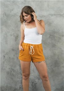 Evolution Basics Sweet But Psyco Shorts, Mustard