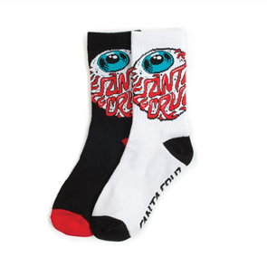 Santa Cruz Eyeball Youth Sock 2 Pair, Assorted