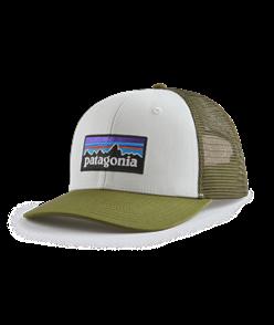Patagonia P-6 Logo Trucker Hat, White w/Palo Green