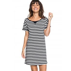 Roxy Womens I Need Your Time Striped Tee Dress, True Black Big Simpl