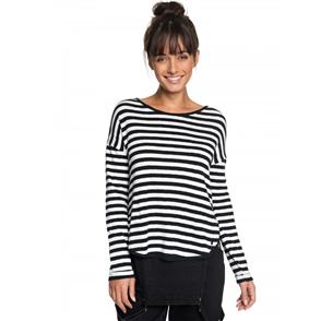 Roxy Womens Curious Direction Striped L/S T Shirt, True Black Big Simple