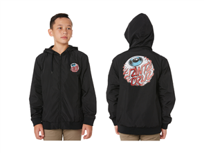 Santa Cruz Eyeball Windbreaker Jacket - Youth, Black