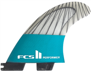 FCS II Performer PC Carbon Teal Large Tri Retail Fins