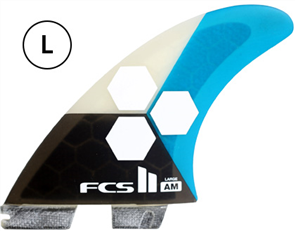 FCS II AM PC Large Teal Tri Retail Fins