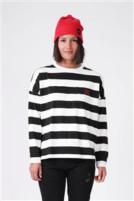 RPM Womens Box Long Sleeve Tee, Black Cream Stripe