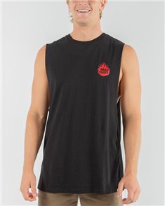 The Mad Hueys FLAMIN SHOEY MUSCLE SINGLET, BLACK