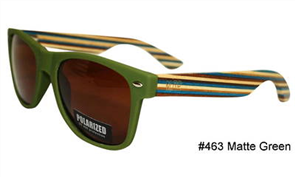 Moana Rd Sunnies, Green Stripe Arms Brown Lens