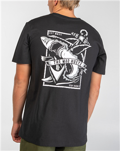 The Mad Hueys WHITE POINTER TEE, VINTAGE BLACK