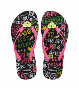 Havaianas Kids Slim Best Friends, Black