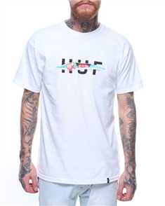 HUF OG LOGO RIPPED SHORT SLEEVE TEE, WHITE