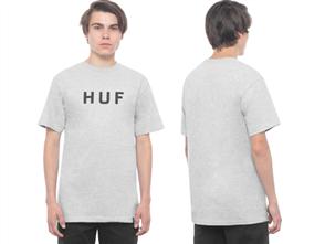 HUF Essentials Og Logo Short Sleeve Tee, Grey Heather