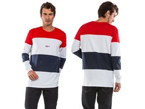 iLabb QUAD MENS LONG SLEEVE TEE, WHT/RED/BLUE
