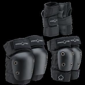 Protec Street Gear Junior Pad Set 3 Pk, Black