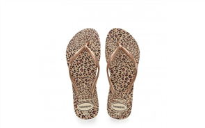 Havaianas Slim Animals 5046  Jandals, Beige/ Ocher Metallic