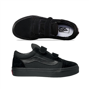 Vans Old Skool Velcro Youth Shoe, Black/ Black