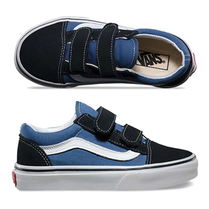 Vans Old Skool Youth Velcro Shoe, Navy True White