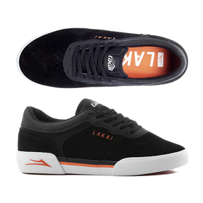 Lakai Staple Skate Shoe Suede, Black Orange