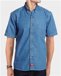Dickies Ws300 Denim Shirt Relaxed Fit Short Sleeve Shirt, Stone Wash