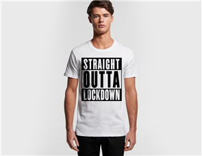 US MENS STRAIGHT OUTTA LOCKDOWN TEE, WHITE
