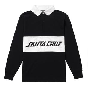 Santa Cruz Striker Long Sleeve Polo Tee, Black