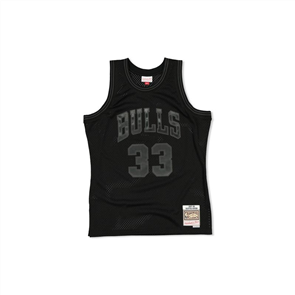 NBA WHITE LOGO SWINGMAN JERSEY, BULLS PIPPEN 33 BLACK