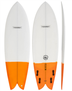 Modern Wild Child PU Fish Surfboard  White Orange