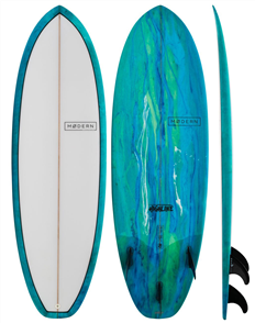 Modern Highline PU Stubby Surfboard, Sea Tint