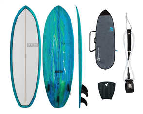 Modern Highline PU Stubby Sea Tint Combo, with Panel Grip, 6'0 Pro Leash, Fish Lite Bag