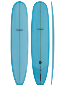 Modern Retro PU Tech Noserider Longboard, Blue Ice Tint