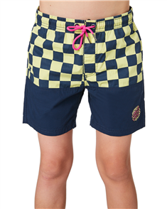 Santa Cruz Check Waste Dot Youth Short, Navy