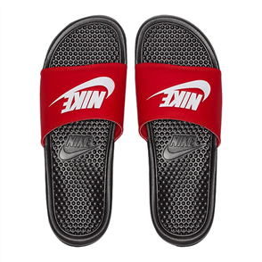 "Nike Benassi ""Just Do It."" Sandal, BLACK/WHITE-UNIVERSITY RED"