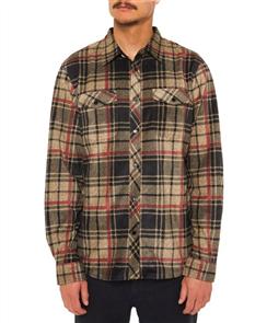 Oneill Glacier Plaid Ls Shirt, Dark Army