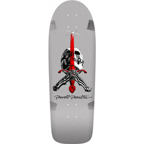 Powell Peralta Rodriguez Skull and Sword Silver Deck, Size 10.0""