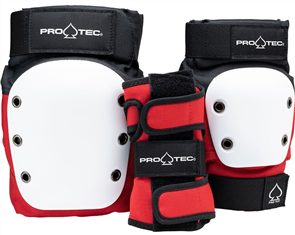 Pro-Tec STREET JUNIOR PAD SET, RED/ WHITE/ BLACK