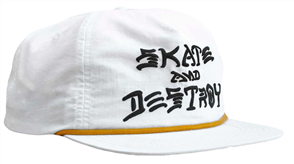 Thrasher Skate & Destroy Puff Ink Snapback, White