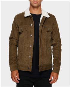 RVCA Daggers Cord Sherpa Jacket, Cadet Green