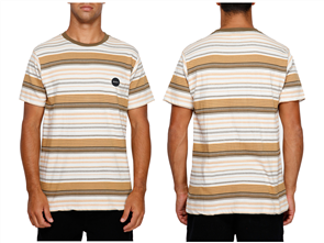 RVCA Deadbeat Stripe Short Sleeve Tee, Apricot