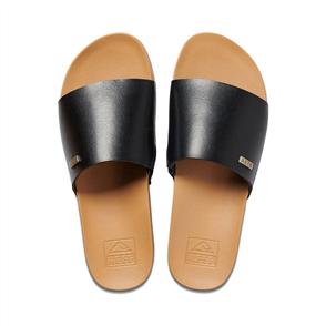 Reef CUSHION BOUNCE SCOUT WOMENS SLIDE, BLACK/ NATURAL