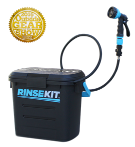Rinsekit Portable shower with Hose Nozzle, hose, adapter, valve & quick connect