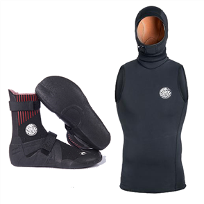 Rip Curl Mens Hooded Thermal Vest + Flashbomb Booties Combo