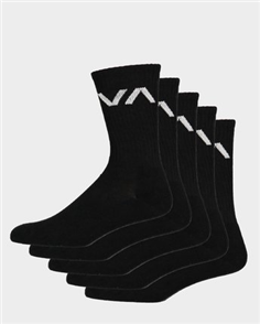 RVCA Mens VA Sport Sock, 5 PACK, Black