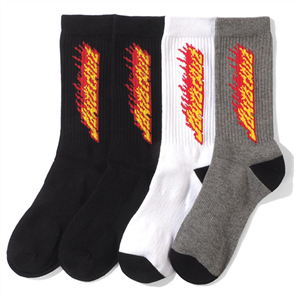 Santa Cruz Mens Flaming Strip Sock - 4 Pack, Asst