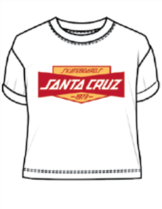 Santa Cruz Store Crop Tee, White