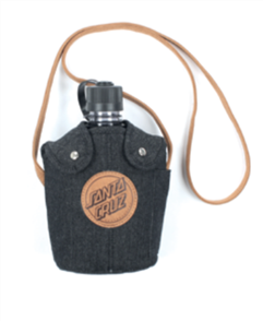 Santa Cruz Leather Dot Squad Water Bottle, Black