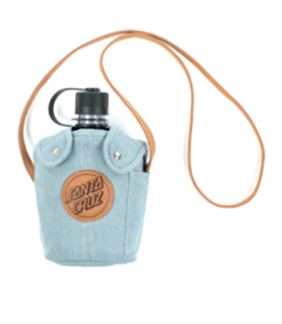 Santa Cruz Leather Dot Squad Water Bottle, Light Denim