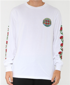Santa Cruz Dressen Roses Long Sleeve Tee, White