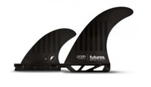 Futures Compound 6 Hs 2+1 Twin Fin Set Fins, Black Stripes