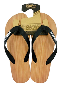 Moana Rd Wooden Look Rubber Jandals, Black