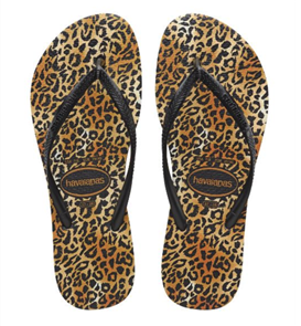 Havaianas Slim Animals Leopard, Black/Gold