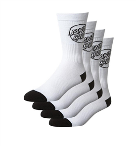 Santa Cruz Mens Mono Cruz Sock 4Pair, White